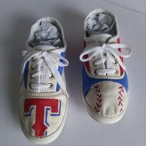 Texas Rangers Hand Paint Canvas Shoes Size 9W